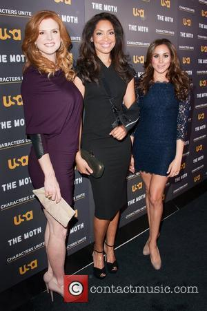 L-R Sarah Rafferty, Gina Torres and Meghan Markle attend the USA Network's and The Moth's Storytelling Tour 'A More Perfect...