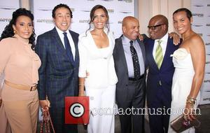 Smokey Robinson, L, Frances Gladney Robinson, Eskedar Gobeze, Berry Gordy Jr, A. Reid, Erica Holton Reid The, Launch, Motown, The Musical, Nederlander Theatre and Arrivals. New York City