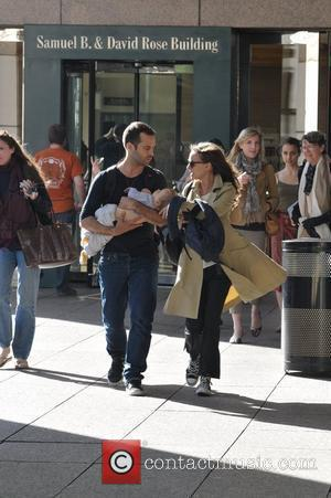 Natalie Portman  spotted with husband Benjamin Millepied and son Aleph leaving The Juilliard & SAB Cafe in Manhattan...