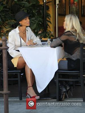 Nicole Murphy and Jessica Canseco (right) having lunch while filming their reality show in Beverly Hills. Los Angeles, California -...
