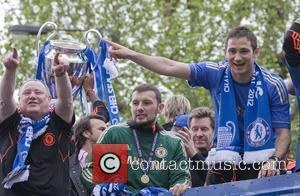 Frank Lampard Chelsea FC European Champions League victory parade - The European Champions League Trophy is displayed from an open...