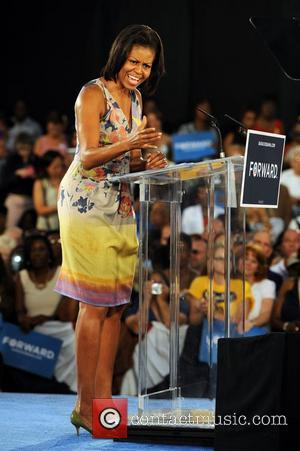 First lady Michelle Obama  delivers a speech during a rally at Florida's War Memorial Auditorium Fort Lauderdale, Florida -...