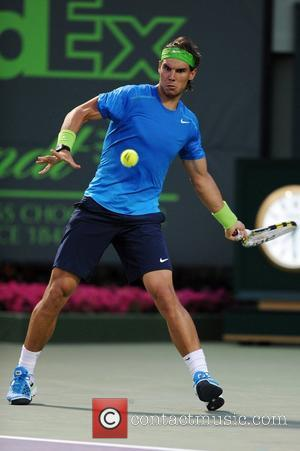 Rafael Nadal of Spain competes against Radek Stepanek of the Czech Republic during the Sony Ericsson Open at the Crandon...