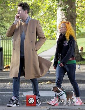 Nick Grimshaw walks through Primrose Hill with a friend London, England - 03.11.12