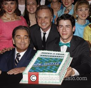 Beau Bridges, Cleve Asbury, Nick Jonas and cast 'First Anniversary of the Broadway musical 'How To Succeed In Business Without...