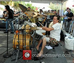 Nicko McBrain performs at a welcome home party at his restaurant 'Rock and Roll Ribs' following a successful 2012 world...