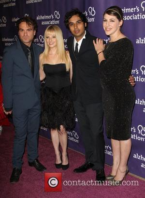 Johnny Galecki, Kunal Nayyar, Mayim Bialik, Melissa Rauch and Beverly Hilton Hotel