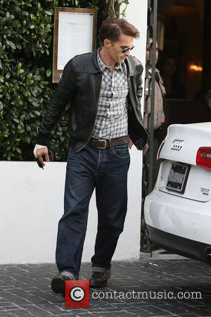 Olivier Martinez leaves Cecconi's Restaurant in West Hollywood wearing a wrist brace bandage on his right hand Los Angeles, California...