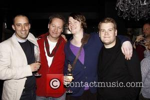 Tom Edden, Richard Bean, Daniel Rigby and James Corden Party celebrating the first Broadway preview of 'One Man, Two Guvnors'...