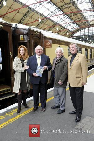 Stephanie Powers, James Sherwood, Barry Cryer and Sir Terry Wogan.  attend the launch of 'Orient Express: A Personal Journey'...