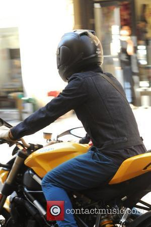 Orlando Bloom is seen departing from his apartment and rides off on his Ducati motorcycle New York City, USA -...