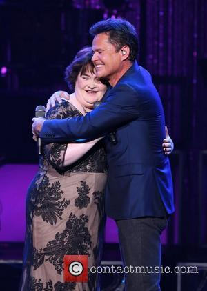 Susan Boyle performs with Donny Osmond during the Donny & Marie Show at The Flamingo Hotel and Casino Las Vegas,...