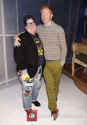 Lea DeLaria and Jesse Tyler Ferguson Backstage at the Off-Broadway comedy 'Out Of Iceland' at the Walkerspace Theatre New York...