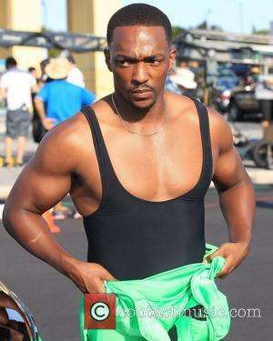 Anthony Mackie on the set of 'Pain and Gain', a new movie about a pair of bodybuilders who get caught...