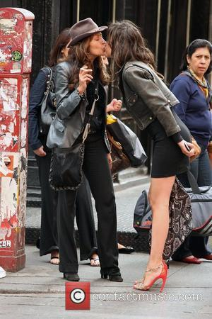 Paz de la Huerta out and about in high heels, leather jacket and little black dress New York City, USA...