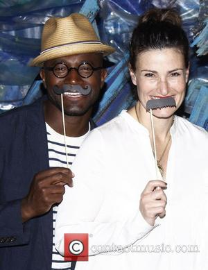 Taye Diggs and Idina Menzel  Celebrities visit the cast of the Broadway play 'Peter and the Starcatcher' at the...