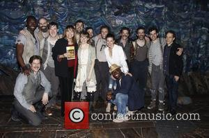 Taye Diggs, Idina Menzel and Valerie Harper pose with Celia Keenan-Bolger, Christian Borle, Adam Chanler-Berat and cast Celebrities visit the...