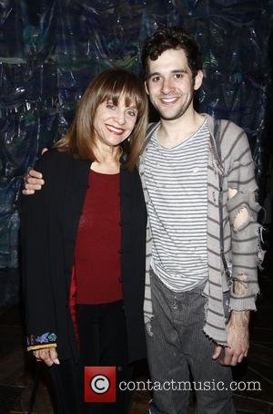 Valerie Harper poses with Adam Chanler-Berat  Celebrities visit the cast of the Broadway play 'Peter and the Starcatcher' at...