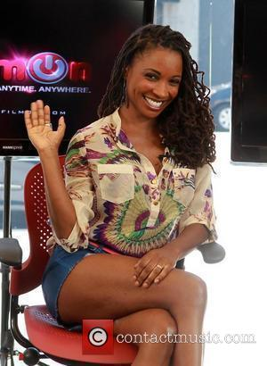 Shanola Hampton on The Set Of Pop Stop TV News Live Beverly Hills, California - 02.08.12