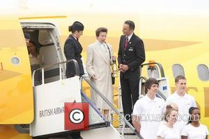 Princess Anne  The ceremony to mark the arrival of the Olympic flame at RNAS Culdrose, Cornwall  Cornwall -...