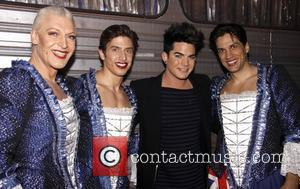 Tony Sheldon, Nick Adams, Adam Lambert and Will Swenson Backstage at the Broadway musical 'Priscilla Queen of the Desert' at...