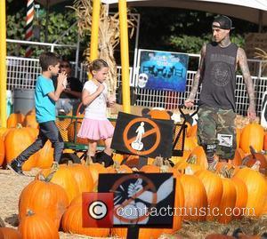 Travis Barker and his children Landon and Alabama Barker at Mr. Bones Pumpkin Patch Los Angeles, California - 18.10.12