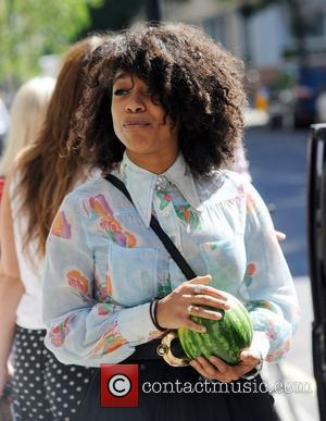 Lianne La Havas outside the BBC Radio One studios holding a watermelon London, England - 24.07.12