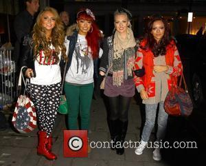 X Factor finalists Jesy Nelson, Leigh-Anne Pinnock, Perrie Edwards and Jade Thirlwall of Little Mix arriving at BBC Radio One...
