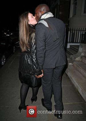 Sol Campbell and wife Fiona Barratt leaving Ramsay's restaurant on Royal Hospital Road after a romantic Valentine's dinner. London, England...