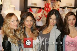 L-r, Victoria's Secret Angels Candice, Swanepoel, Lily Aldridge, Adriana Lima, Miranda Kerr, Victoria's Secret Angel Holiday, Celebration and Herald Square