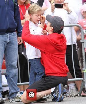 Matt Bomer with his son Kit Bomer 19th Annual EIF Revlon Run Walk held at the Los Angeles Memorial Coliseum...