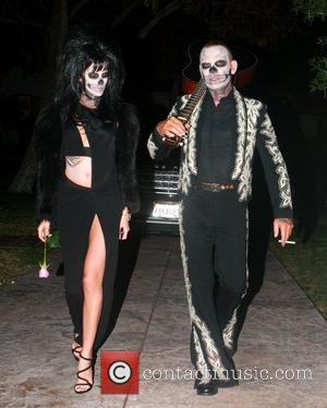 Christian Audigier and Nathalie Sorensen attended Rihanna's Halloween party held at Greystones Manor in West Hollywood  Los Angeles, California...