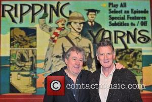 Michael Palin and Terry Jones sign copies of their new DVD, 'Ripping Yarns: The Complete Series' at HMV Oxford Circus....