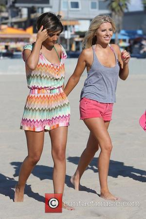 Frankie Sandford and Mollie King of The Saturdays spend the day at the beach. Venice Beach, California - 10.10.12