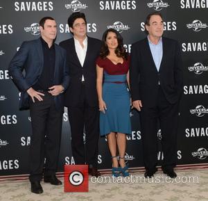 Benicio Del Toro, Oliver Stone, Salma Hayek, John Travolta, Savages, Mandarin Oriental, London and England