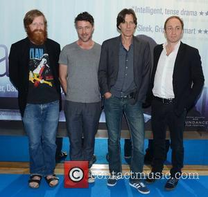 David Wilmot, Aidan Gillen, James Marsh, Michael McElhatton,  at the Irish premiere of 'Shadow Dancer'at the Lighthouse Cinema. Dublin,...