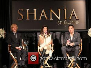Marc Bouwer, Shania Twain and Raj Kapoor attend a press conference for 'Shania: Still The One' at Caesars Palace Resort...