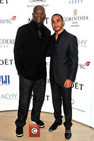 Samuel L Jackson and Lewis Hamilton