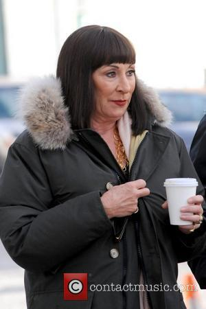 Anjelica Huston braving the cold weather on the set of Smash filming on location in Long Island City  New...
