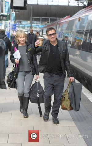 Chris Gascoyne boards a train at Manchester Piccadilly train station on the way to attending the The British Soap Awards...