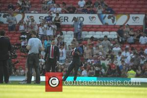 Olly Murs and Aston Merrygold Soccer Aid 2012 in support of UNICEF UK held at Old Trafford Manchester, England -...