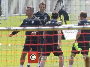 Robbie Williams, Jason Isaacs and Graeme Le Saux Training for the Soccer Aid match which will be held in Manchester's...