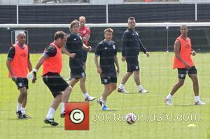 John Bishop, Graeme Le Saux, Robbie Williams and Marvin Humes of JLS Celebrities training for the Soccer Aid match which...