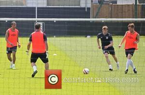 Marvin Humes of JLS and Olly Murs Celebrities training for the Soccer Aid match which will be held in Manchester's...