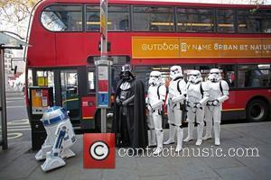 Darth Vader, Stormtroopers and R2-D2 joined morning commuters today in anticipation for the launch of the Kinect Star Wars game...