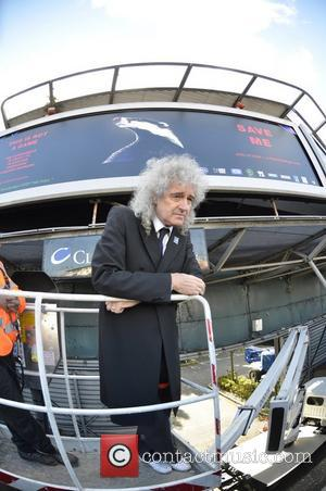Queen guitarist Brian May launches the Team Badger campaign in London with a giant billboard poster on Cromwell Road, at...