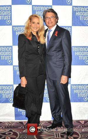 Jerry Hall and guest Terrence Higgins Trust: Friends for Life - charity dinner  held at the Park Lane Hotel...