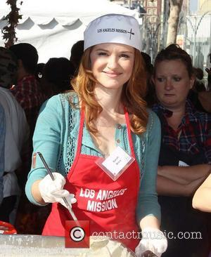 Sarah Drew,  at the Los Angeles Mission's Thanksgiving for skid row homeless at the Los Angeles Mission. Los Angeles,...