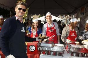 Simon Halls, Matt Bomer,  at the Los Angeles Mission's Thanksgiving for skid row homeless at the Los Angeles Mission....