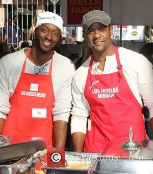 Aldis Hodge, Blair Underwood,  at the Los Angeles Mission's Thanksgiving for skid row homeless at the Los Angeles Mission....